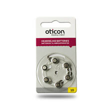 Oticon Size 10 Hearing Aid Batteries (Yellow Tab) - Various Pack Size