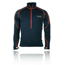 OMM Contour Race Hombre Negro Mangas Largas Cremallera 1/2 Running Deporte Top