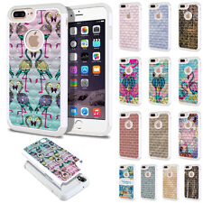 For Apple iPhone 7 Plus 5.5 inch Design Bling Hybrid Hard Rubber Case Cover