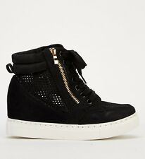 WOMENS LADIES HIGH WEDGE HEEL HIGH TOP SNEAKERS TRAINERS SHOES ANKLE BOOTS UK 6