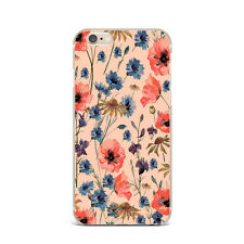 Retro Poppy Floral Flower Design Silicone Rubber Gel Case For IPhone 4S 5S