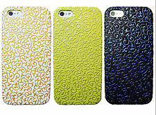 Vintage Pattern Embossed Flower Hard Case For iPhone 5 5S White Yellow Blac