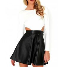 Missguided negro/Blanco Recortado Cuero Artificial MINI VESTIDO UK14