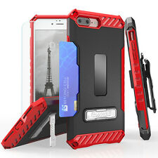 For Apple iPhone 7 / 7 Plus Rugged Case Holster Kickstand Card Slot+Glass S