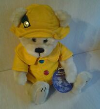 Retired Harper Brass Button Health Bear Raincoat and Hat Plush Jointed