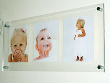 """Acrylic perspex floating baby wedding picture photo frame for 3x 9x7""""  all color"""