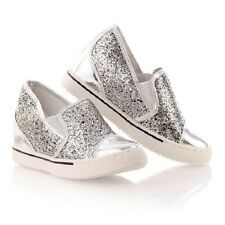 LADIES SILVER WEDGE LOW TOP BOOTS SNEAKERS TRAINERS SLIP ON SHOES PUMPS SIZE 3-8