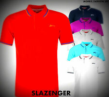 NEW  COLORS Mens Slazenger Striped Trim Tipped Polo Shirt Top Size S-XXXXL