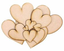 3mm MDF Hearts Design 01 - Various Sizes 20mm to 130mm