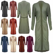 NEW Women Ladies Plain Belted Open Front Long sleeves Maxi Gown Abaya Cardigan