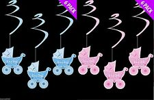 6x New Baby/ Baby Shower Congratulations Its a Girl/Boy Hanging Swirl Decoration