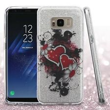 for Samsung GALAXY S8 /S8 PLUS Silver Red Hearts Glitter case Cover +Screen
