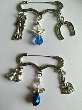 SOMETHING BLUE WEDDING LUCKY BOUQUET GARTER GUARDIAN ANGEL CHARM BROOCH MEMENTO