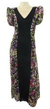 Monsoon Black Multi Floral Short Sleeved Maxi Dress with Front Black Panel
