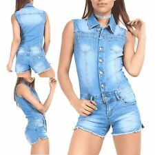 Womens Ladies Sleeveless Raw Edge Pockets Collar Jeans Denim Dungaree Playsuit