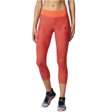 Adidas Womens Orange Climalite AOP Training Capri Tights Bottoms Pants