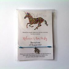 Personalised Hen Party friendship bracelets unicorn Hen party favours bags wish