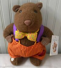HALLMARK Storybook Friends GROUNDHOG Plush Stuffed Bow Tie Overalls NWT 12