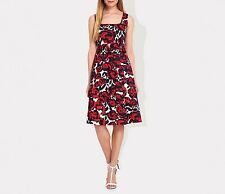 Ossie Clark Women's Vintage Inspired Red Rose Print Trouville Dress RRP £99