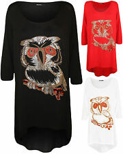 Ladies 3/4 Sleeve Owl Glitter Print Scoop Neck Dip Hem Casual Womens New Top