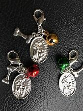 DOG COLLAR BELL & St Francis of Assisi Charm Patron St of Animals Protect