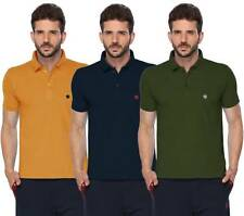 ONN Mens Cotton Half Sleeves Polo T-Shirt (ONN_431_Mustard-Navy-Olive_Pack of 3)