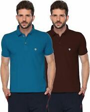 ONN Mens Cotton Half Sleeves Polo T-Shirt (ONN_431_Bright Blue-Coffee_Pack of 2)