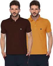 ONN Men's Cotton Half Sleeves Polo T-Shirt (ONN_431_Mustard-Coffee_Pack of 2)