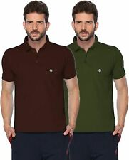 ONN Men's Cotton Half Sleeves Polo T-Shirt (ONN_431_Coffee-Olive_Pack of 2)