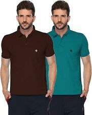 ONN Men's Half Sleeves Polo T-Shirt (ONN_431_Peacock Blue-Coffee_Pack of 2)