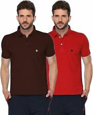 ONN Men's Casual Cotton Half Sleeves Polo T-Shirt (ONN_431_Red-Coffee_Pack of 2)