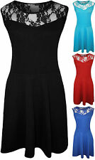 Ladies Sleeveless Plain Lace Skater Party Womens Short Casual Summer New  Dress