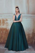 Sexy Deep V Neck Satin Evening Dress Full Length Formal Occasion Party Gowns