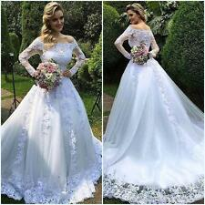 New White/Ivory Lace Wedding Dress Bride Gown Size:6 8 10 12 14 16 18 20