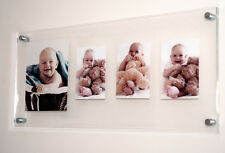 """Floating acrylic perspex high gloss multi picture photo frame 1x 10x8"""" & 3x 5x7"""""""