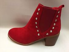 Stunning New Boxed Ladies Red Faux Suede & Silver Stud Pull on Ankle Boots 3s-8s