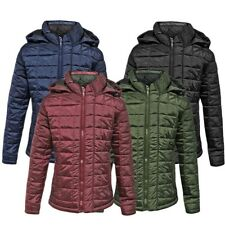Mens Puffer Check Quilted MA1 Padded Jacket Hooded Bubble Puffa Coat Bomber UK