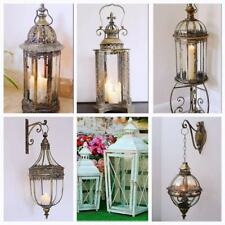 Vintage Moroccan Garden Lantern & Bracket Candle Holder Hanging Metal Lamp Patio