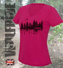 Womens mountain bike v-neck performance top forest print, cycling, sports