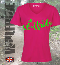 Pink mountian bike, wicking, v-neck performance t-shirt with flouro print