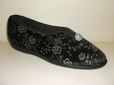 TENDER tootsies da donna nero floreale slip on morbido tessuto pantofole. UK 9