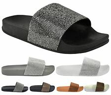New Womens Fashion Diamante Comfy Slip on Flip Flop Slider Slippers Casual Shoes