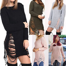 Ladies Long Sleeves Ripped Distressed Torn Long Jumper Dress New Knitted Sweater