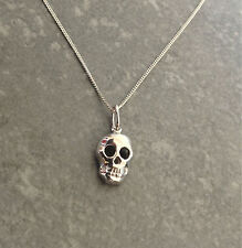 925 Sterling Silver Skull Pendant necklace chain UK Seller