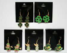 St Patrick's Day Earrings Irish Celtic Jewelry  Leprechaun, Shamrock, Angel