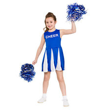 Girls Cheerleader Blue Costume Football Sport Highschool Sissy Fancy Dress