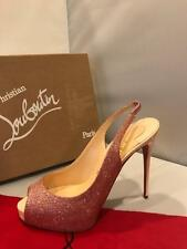 Christian Louboutin PRIVATE NUMBER Glitter Slingback Heels Pumps Shoes Pink $825