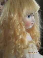 100% HUMAN HAIR DOLL WIG BLONDE 14/15 ANTIQUE FRENCH BRU FRENCH JUMEAU