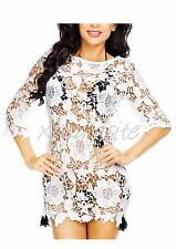 White Lace Crochet Beach Dress Bikini Cover Up Long Sleeve Women's Swimwear