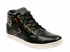 Vedano Leather Black Medusa Ankle Length Leather Casual Sneaker Shoes CASA053